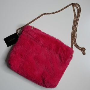 Forever 21 pink faux fur purse